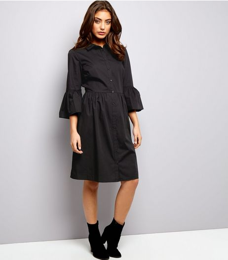 Black Bell Sleeve Cotton Shirt Dress | New Look