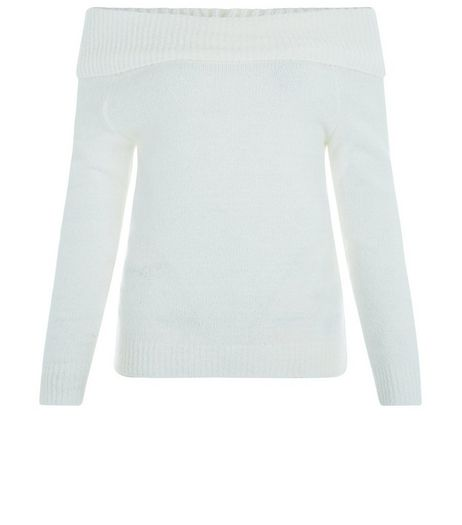 Teens Cream Fold Over Badot Neck Jumper | New Look