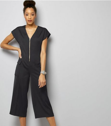 Navy Sateen Zip Front Utility Jumpsuit | New Look