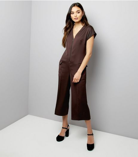 Burgundy Sateen Zip Front Utility Jumpsuit | New Look