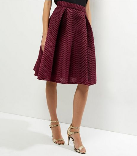 Blue Vanilla Burgundy Mesh A-Line Midi Skirt | New Look
