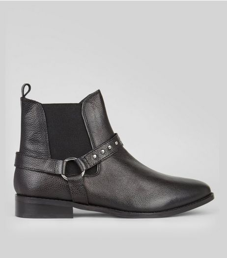 Black Leather Studded Ring Trim Chelsea Boots  | New Look