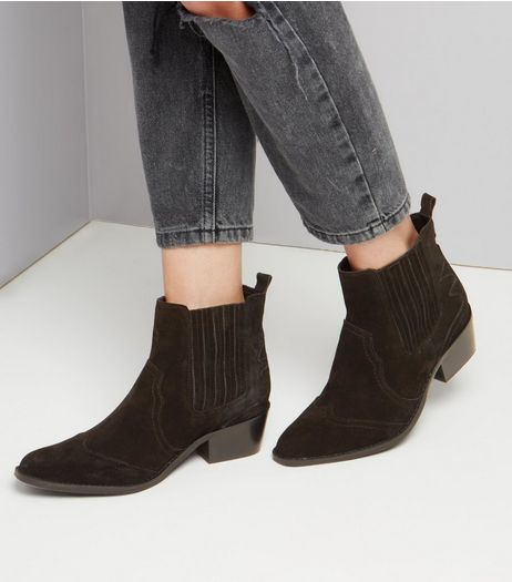 Black Suede Square Toe Western Boots  | New Look