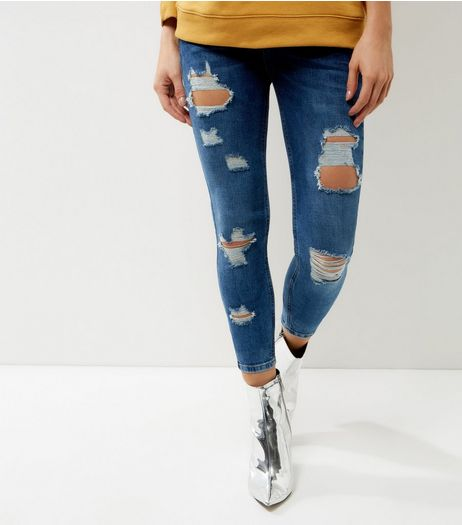 Petite Blue Extreme Ripped Skinny Jeans | New Look