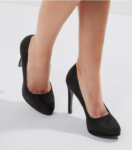 Black Suedette Platform Court Shoes | New Look