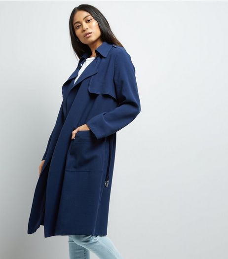 Petite Navy D Ring Utility Mac Jacket | New Look