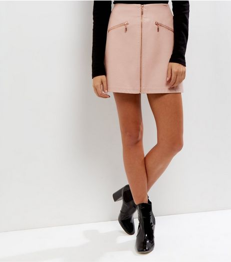 Petite Mid Pink Leather-Look Zip Front Skirt  | New Look