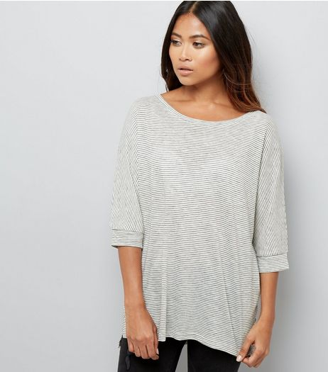 Petite Cream Stripe Batwing Sleeve Top | New Look