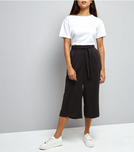 Petite Black Tie Waist Wide Leg Cropped Trousers | New Look