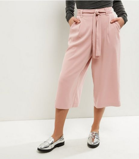 Petite Pink Tie Waist Wide Leg Cropped Trousers | New Look