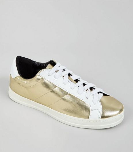 Gold Contrast Panel Lace Up Trainers | New Look