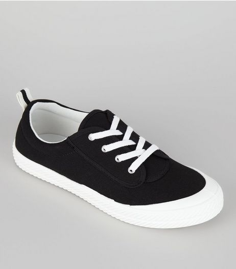 Black Textured Contrast Sole Trainers | New Look