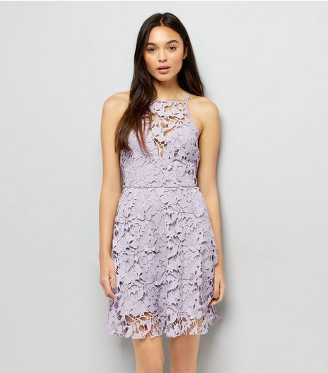 Mink Premium Lace Strappy Skater Dress | New Look