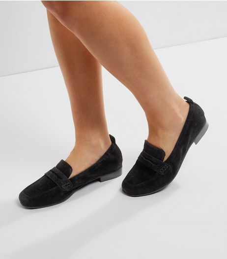 Black Suede Elasticated Loafers | New Look
