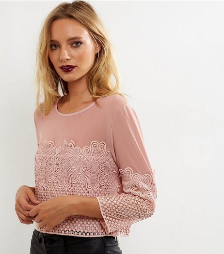 Mid Pink Mesh Panel Lace Crop Top  | New Look