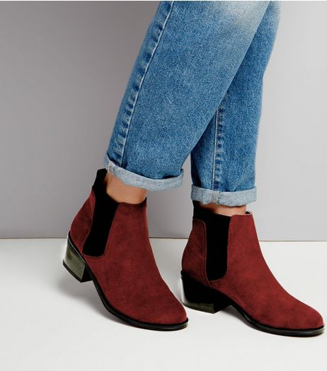 Dark Red Comfort Suedette Elasticated Chelsea Boots | New Look