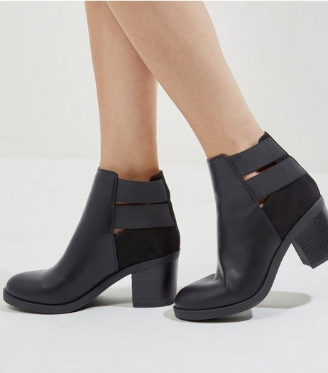 Black Double Strap Suedette Back Ankle Boots | New Look
