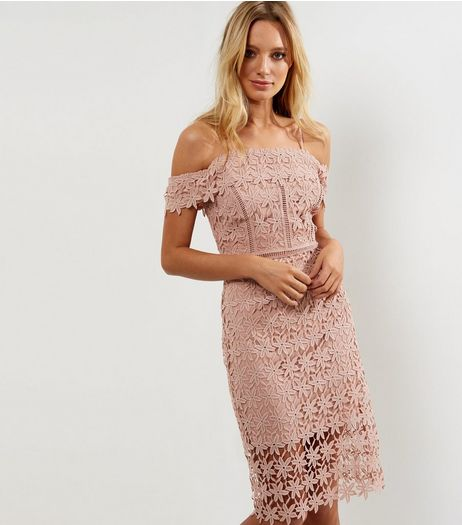 Mid Pink Premium Lace Cold Shoulder Midi Bodycon Dress  | New Look