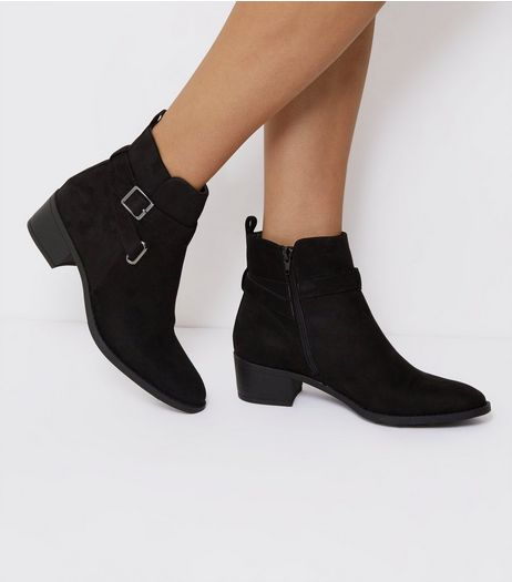 Black Suedette Buckle Strap Ankle Boots | New Look
