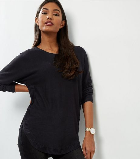 Apricot Black Ribbed Zip Back Curved Hem Jumper  | New Look