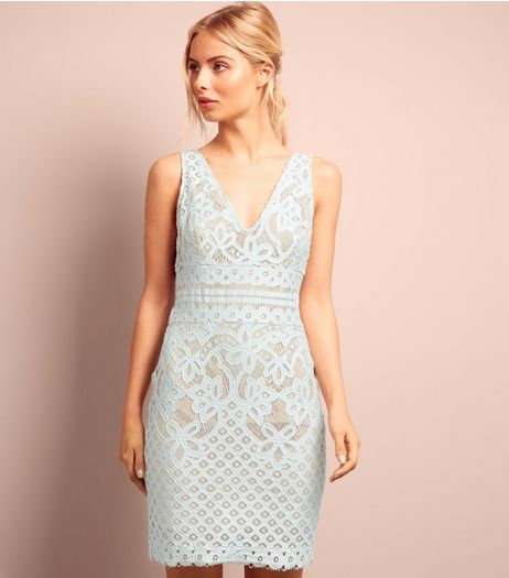 Pale Blue Lace V Neck Bodycon Dress  | New Look