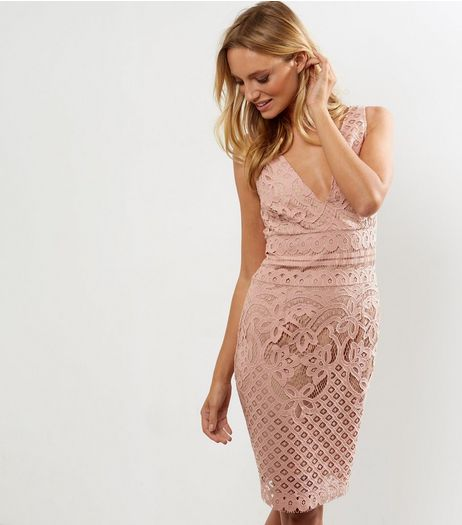 Pink V Neck Contrast Lace Bodycon Dress  | New Look