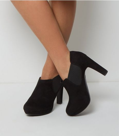 Wide Fit Black Suedette Shoe Boot  | New Look