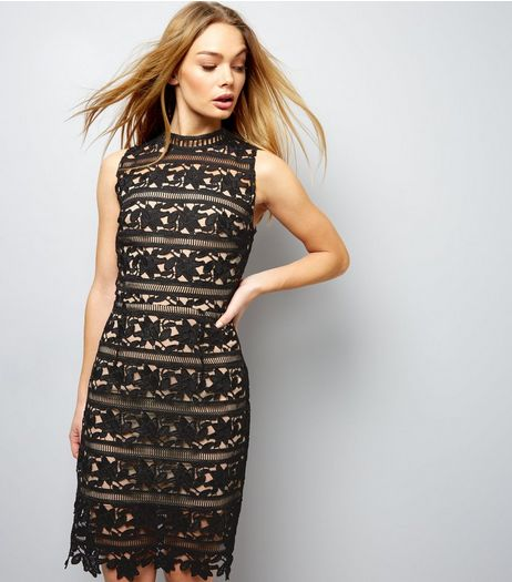 Black Premium Lace High Neck Bodycon Dress | New Look