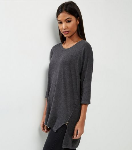Apricot Dark Grey Zip Side Tunic  | New Look