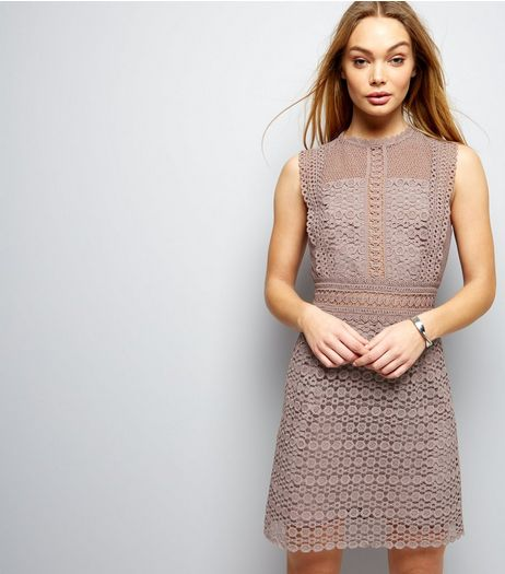 Mink Premium Geometric Lace Shift Dress | New Look