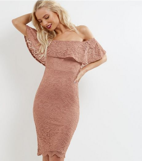 Shell Pink Lace Frill Trim Bardot Neck Bodycon Dress | New Look