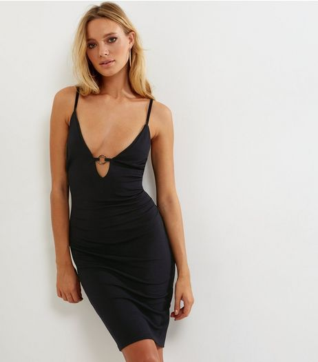 Black Ring Strap Front Bodycon Dress | New Look
