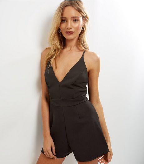 Black Lace Back Strappy Playsuit  | New Look