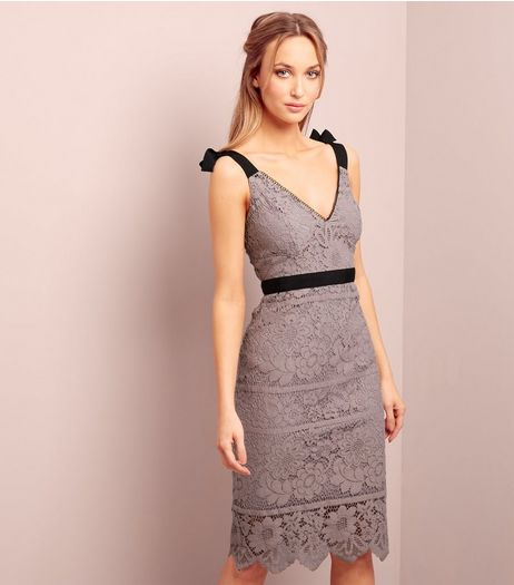 Mink Premium Lace Tie Strap Trim Dress  | New Look