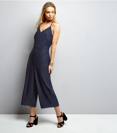 Navy Strappy Culotte Jumpsuit | New Look