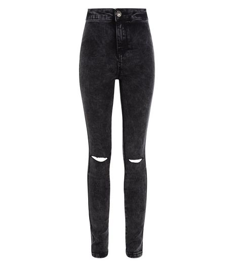 Teens Black Acid Wash Ripped Knee Skinny Jeans | New Look