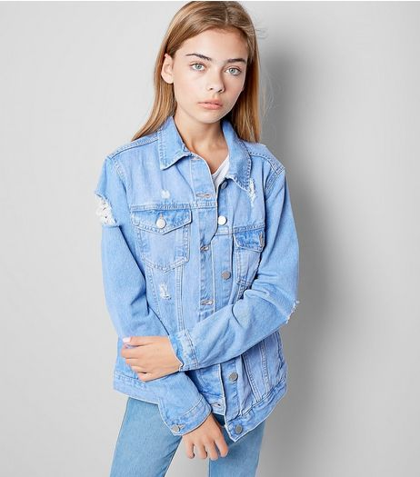 Teens Blue Ripped Denim Jacket | New Look