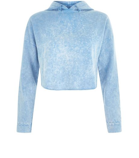 Teens Pale Blue Acid Wash Cropped Hoodie | New Look