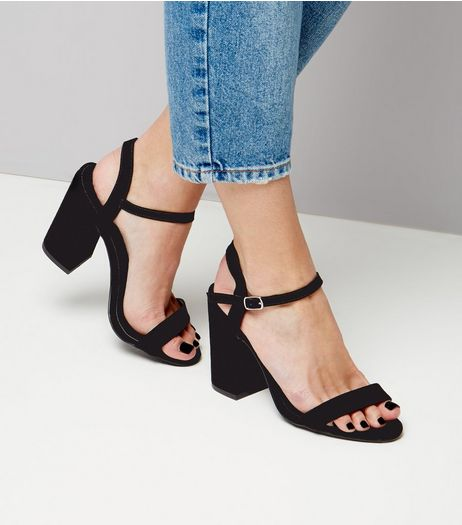 Wide Fit Black Suedette Flared Heeled Sandals | New Look