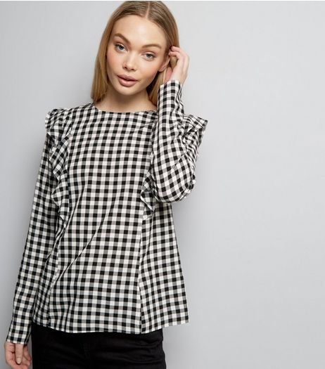 White Gingham Check Frill Trim Long Sleeve Top  | New Look
