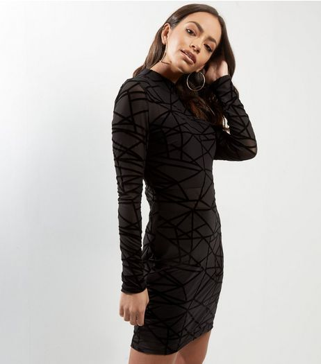 Parisian Black Velvet Trim Long Sleeve Bodycon Dress | New Look
