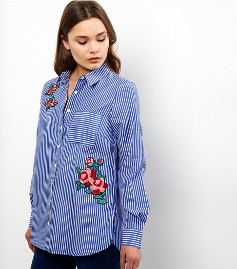 Blue Stripe Rose Badge Shirt | New Look