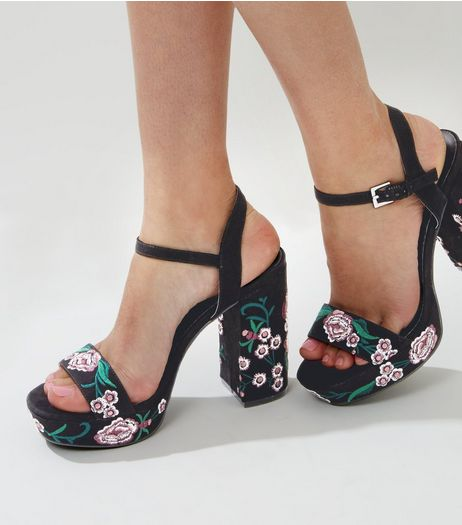 Black Suedette Floral Embroidered Platform Heels | New Look