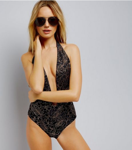 Black Metallic Floral Plunge Swimsuit | New Look