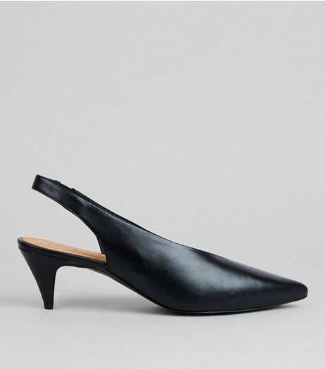 Black Leather Pointed Sling Back Kitten Heels | New Look