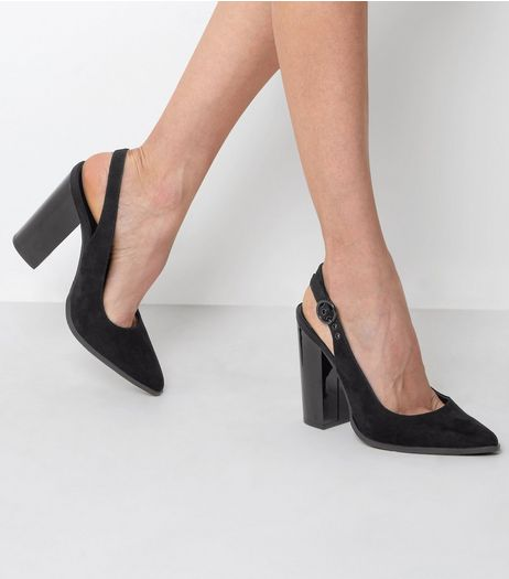 Black Suedette Sling Back Pointed Block Heels | New Look