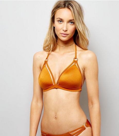 Rust Strappy Ring Front Plunge Bikini Top | New Look