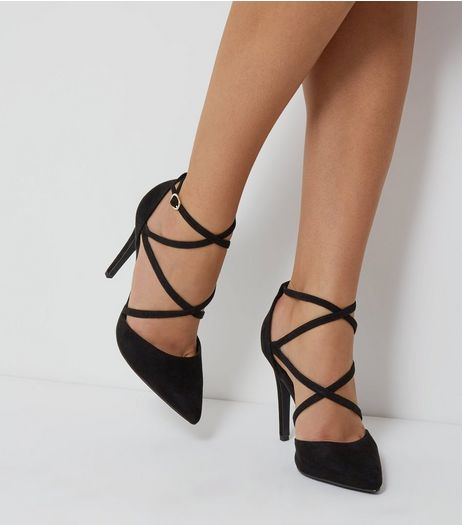 Black Suedette Cross Ankle Strap Pointed Heels | New Look
