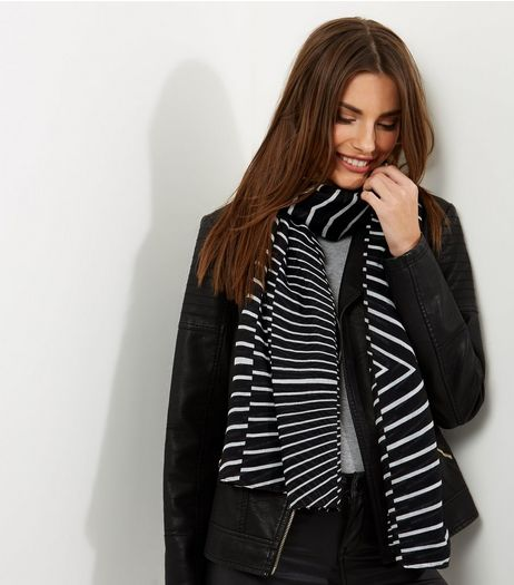 Black Stripe Longline Scarf | New Look