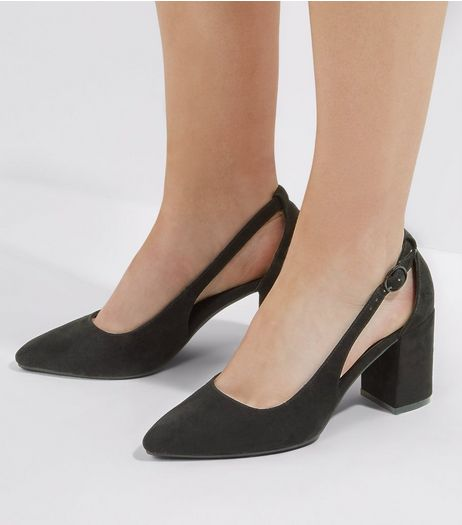 Wide Fit Black Suedette Pointed Cut Out Heels | New Look